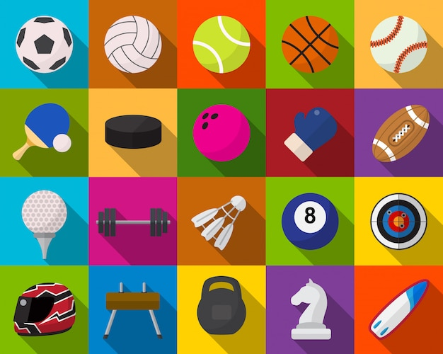 Sport equipment flat icons set