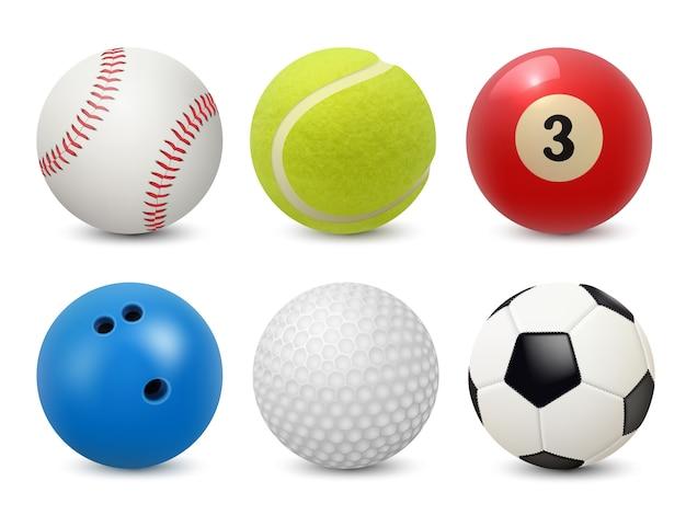 Спортивное снаряжение. реалистичные шары бильярд футбол теннис бейсбол гольф и боулинг коллекция