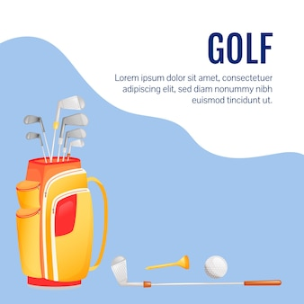 스포츠 장비 소셜 미디어 게시물. 골프 용품. 웹 배너 디자인 템플릿입니다. 전문 장비