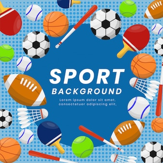 Sport equipments background for competition