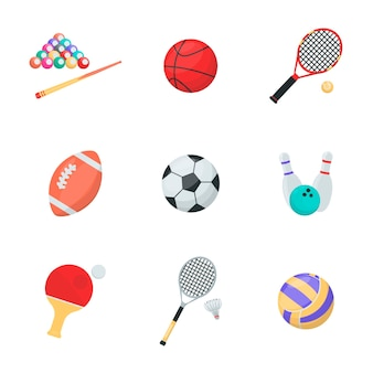 Sport equipments cartoon vector set balls and rockets billiard basketball tennis rugby socker bowling ping pong volleyball