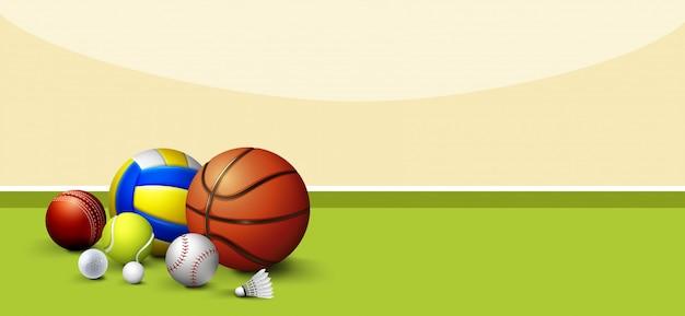 Sport equipments on green floor