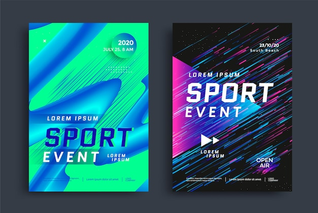 Sport event poster layout design template cover for fitness center with duotone colored angled line