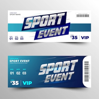 Sport event ticket card with an elegant silver metallic silver