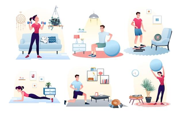ボールでトレーニングをしている家庭でのスポーツ運動男女