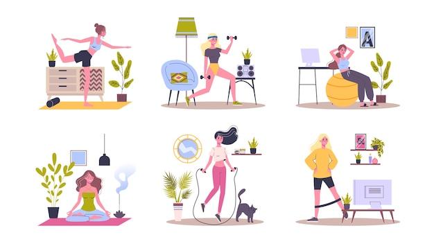 집에서 스포츠 운동을 설정합니다. 실내 운동을하는 여자. 요가와 피트니스, 건강한 라이프 스타일. 삽화