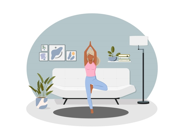 Sport exercise at home. woman doing workout indoor. yoga and fitness, healthy lifestyle.