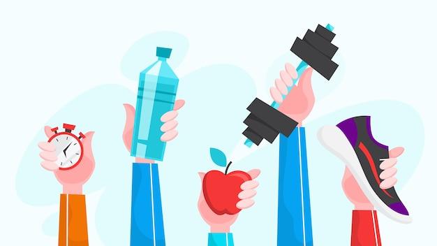 Иллюстрация спортивных упражнений. время заниматься фитнесом и тренировками