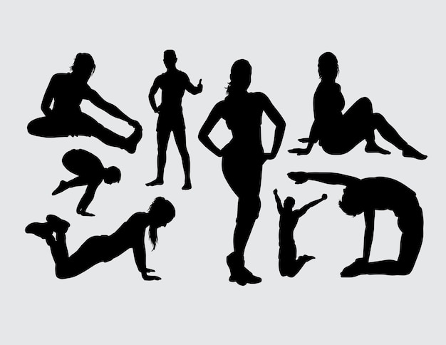 Sport exercise male and female silhouette