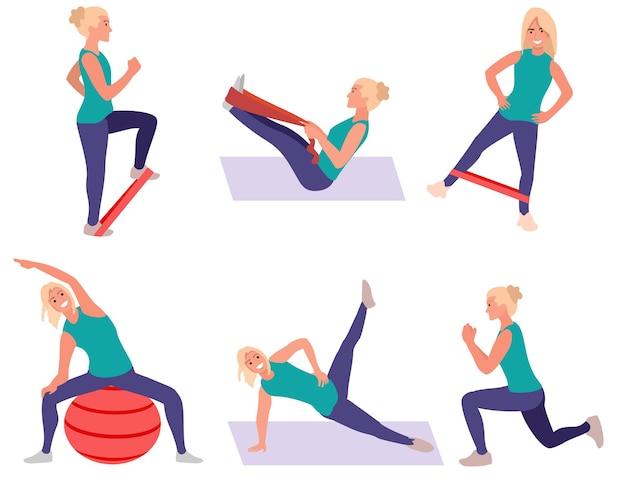 Набор спортивных упражнений женщина делает тренировки йоги и фитнеса здоровый образ жизни плоские выпады и приседания