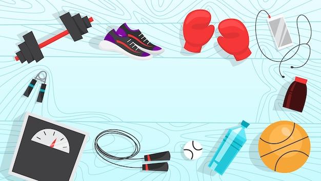 Спортивные упражнения веб-баннер. время заниматься фитнесом и тренировками