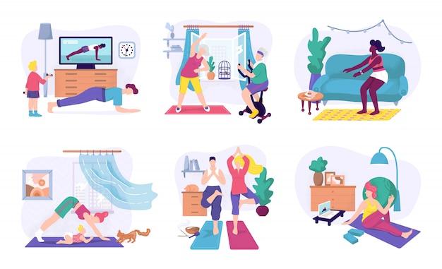 집에서 스포츠 연습, 그림을 설정합니다. 집에서 피트니스 운동과 요가 운동 남성과 여성의 캐릭터. 스포츠 건강한 라이프 스타일, 맞는 운동 훈련과 활동 개념.