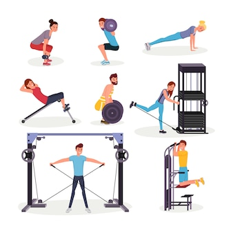 Sport exercises flat  s set