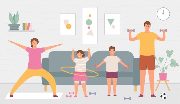 Спортивная семья дома. родители и дети делают зарядку в интерьере дома. крытый здоровый образ жизни для активных взрослых и детей векторный концепт. отец и с гантелями, дочь с обручем