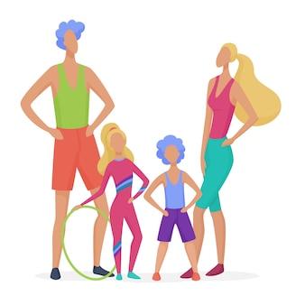 孤立したスポーツ家族。お父さん、母、息子、娘がフィットネスを行う準備ができて抽象的なミニマルなスタイルのイラスト