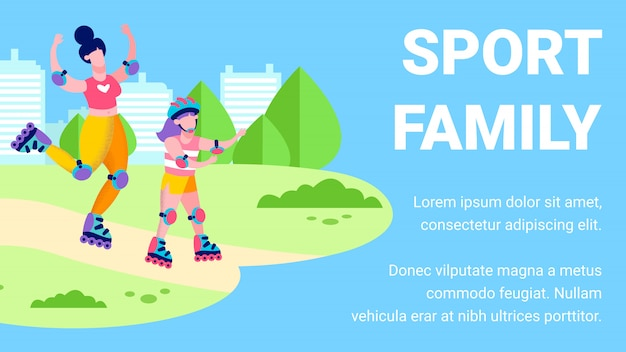 Sport family motivational banner template in flat style