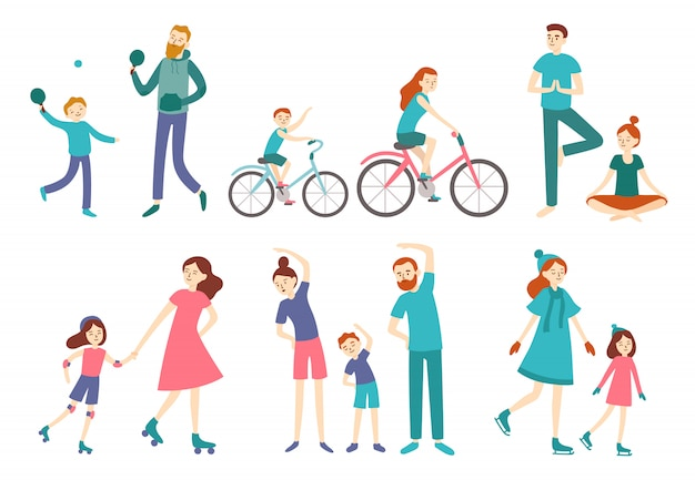 Sport family people. couple with kids on fitness workout, cycling and play tennis. sports lifestyle activities vector illustration