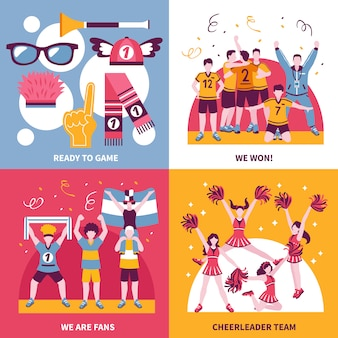 Sport fans cheerleaders isometric concept
