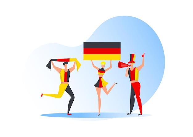 Любители спорта, люди германии празднуют футбольную команду. активная команда поддерживает футбольный символ и празднование победы.