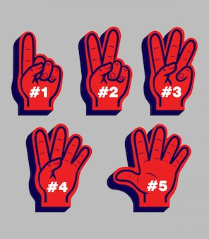 Sport fans glove counting from number one to five.