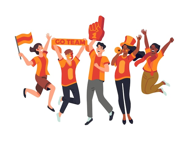 Sport fans. happy friends rooting for their soccer team, supporters watch football game, competitions audience, cheerleading. vector set