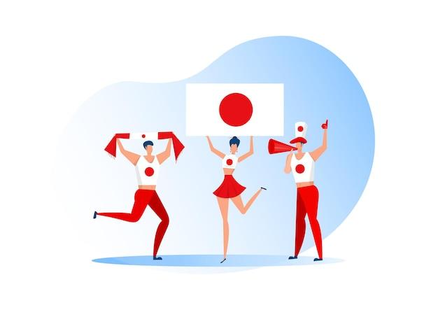 스포츠 팬, 축구 팀을 축하하는 일본 사람들. 활성 팀 지원 축구 기호 및 승리 축하.