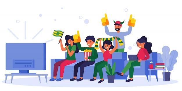 Sport fans watching match on tv