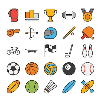Sport filled outline icon set