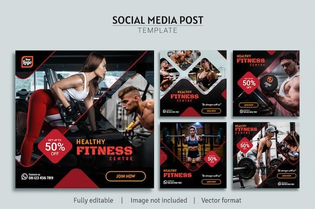 Sport fitness centre social media post template design premium collection