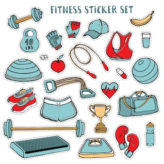 Sport and fitness colorful sticker set of hand drawn doodles