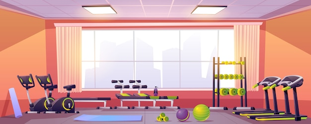 Sport and fitness equipment in gym