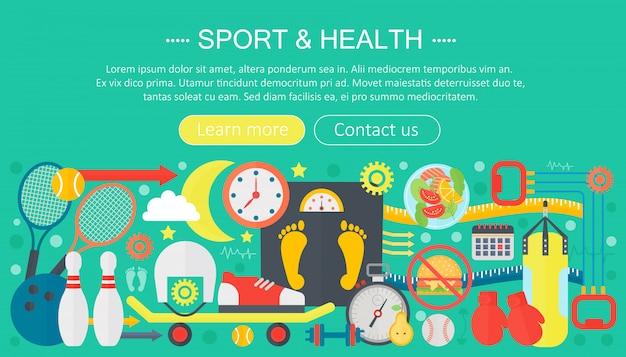 Sport and fitness flat infographics template