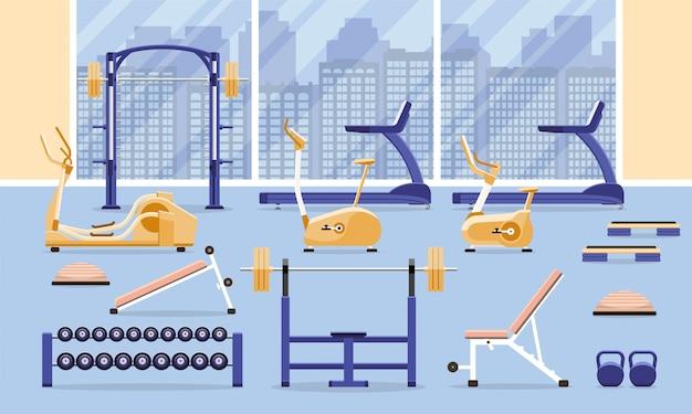 Sport fitness gym interior workout equipment.