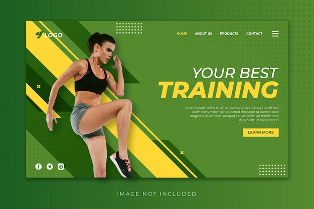 Sport fitness landing page template