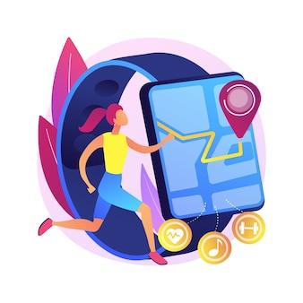 Illustrazione di concetto astratto dell'inseguitore di fitness e sport. fascia di attività, monitor della salute, dispositivo da polso, applicazione per corsa, ciclismo e allenamento quotidiano