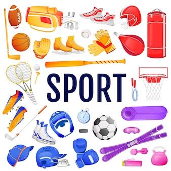 Sport flat color objects set