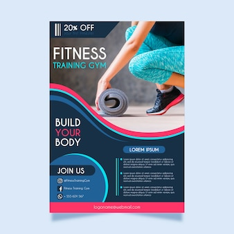 Sport flyer fitness template with photo