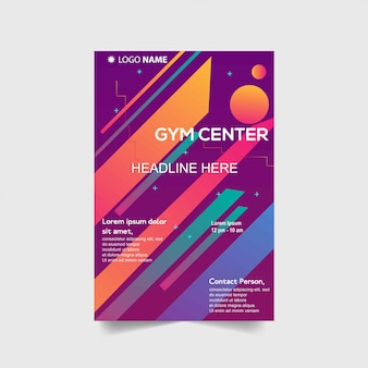 Sport flyer template with abstract shapes