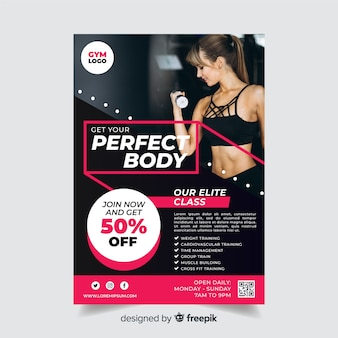 Sport flyer template with discount