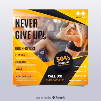 Sport flyer template with image
