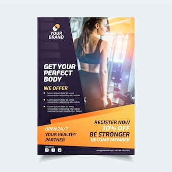Sport flyer template with photo