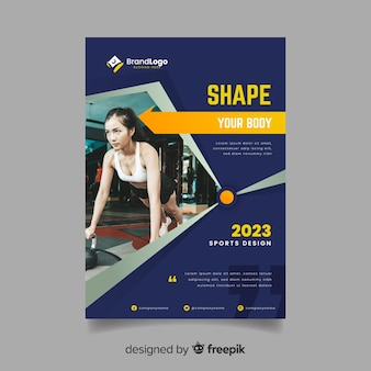 Sport flyer with fit woman exercising