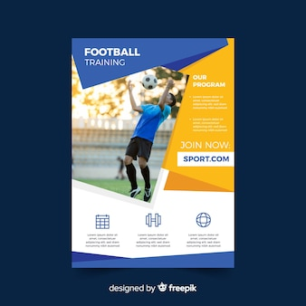 Sport flyer with man playing football