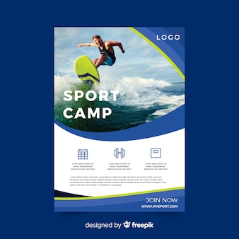 Sport flyer with man surfing