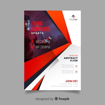 Sport flyer with man weightlifting