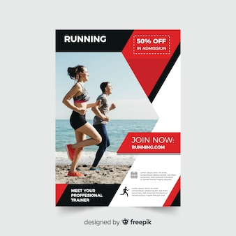 Sport flyer with people running on the beach