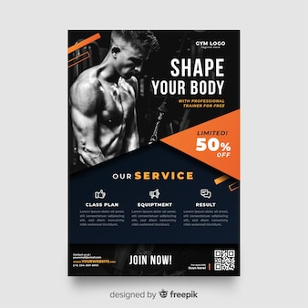 Sport flyer with photo template