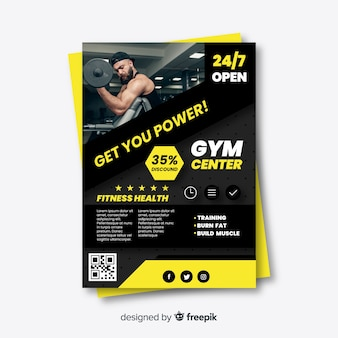 Sport flyer with picture template