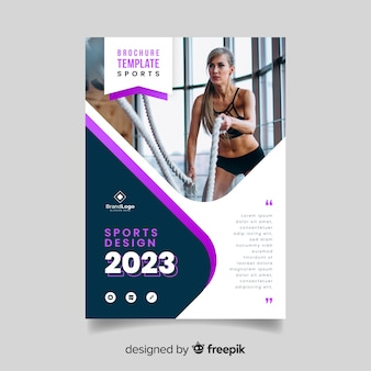 Sport flyer with woman sweating