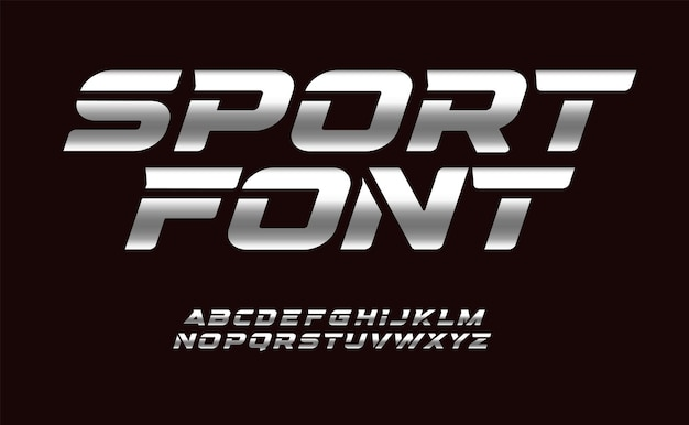 Sport font with chrome texture trendy letters design for sport automotive car moto speed race and